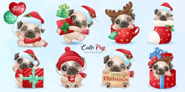 Doodle pug fofo definido para o dia de natal com ilustração em aquarela