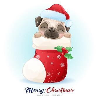 Doodle pug fofo para o dia de natal com ilustração em aquarela