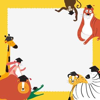 Doodle safari frame em amarelo com animais fofos para crianças