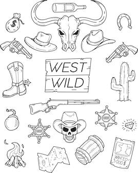 Doodle selvagem ocidental definido para design gráfico