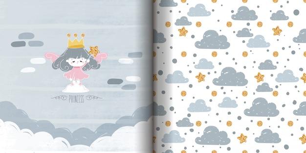 Doodle sem costura padrão de desenho minimalista com pintura de princesa de tinta com varinha mágica estrela brilhante.