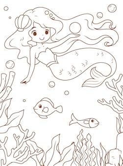 Doodle sereia e o mar