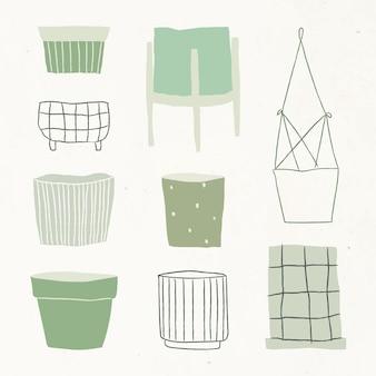 Doodle simples de vetor de vaso de planta em verde