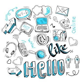 Doodle sinais de mídia social