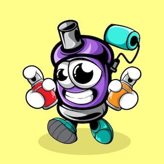 Doodle spray paint character