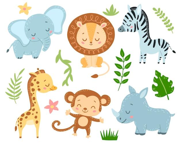 Doodle style flat cartoon safari animals set