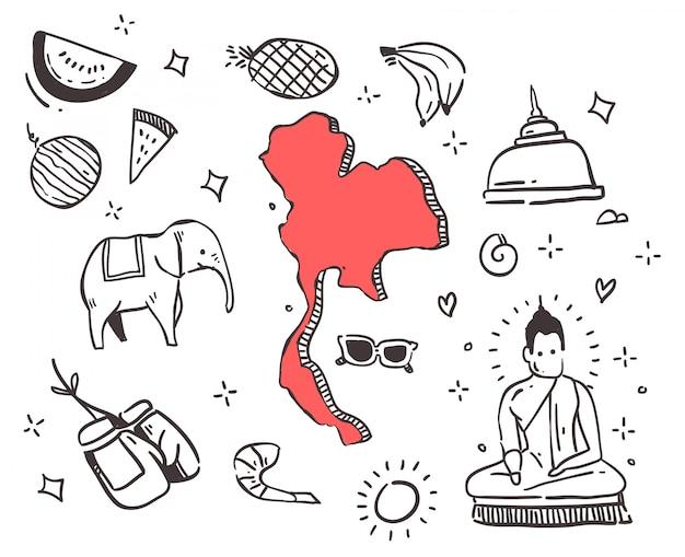 Doodle tailandês desenhado de mão