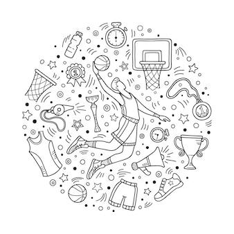 Doodle temático de basquete
