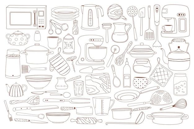 Doodle utensílios de cozinha, equipamentos para cozinhar e assar, colher, batedeira, conjunto de faca de micro-ondas
