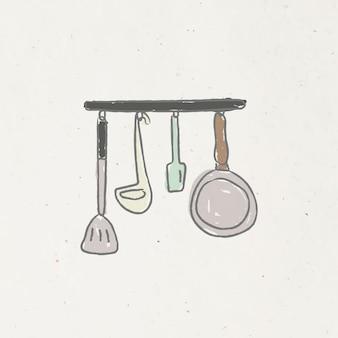 Doodle utensílios de cozinha