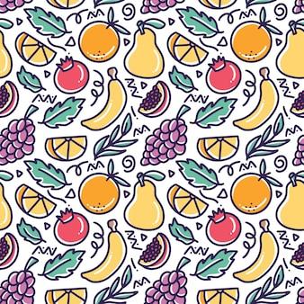 Doodle vários desenhos de coleta de frutas com ícones e elementos de design