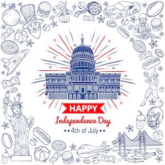 Doodle vector estoque feliz quatro de julho dia da independência dos estados unidos