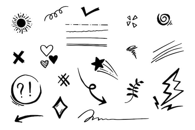 Doodle vector set ilustração com mão desenhar linha arte estilo vetor. coroa, rei, sol, flecha, coração, amor, estrela, redemoinho, swoops, ênfase, para design de conceito