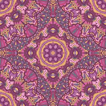 Doodle vintage e formas de flores de fundo sem costura étnica de motivo floral. padrão de papel de parede colorido desenhado à mão do laço abstrato.