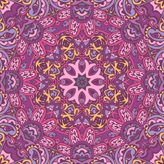 Doodle vintage e formas de flores de fundo sem costura étnica de motivo floral. padrão de papel de parede colorido desenhado à mão do laço abstrato. Vetor Premium