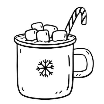 Doodle xícara de chocolate quente com marshmallows e bastão de doces isolado no branco