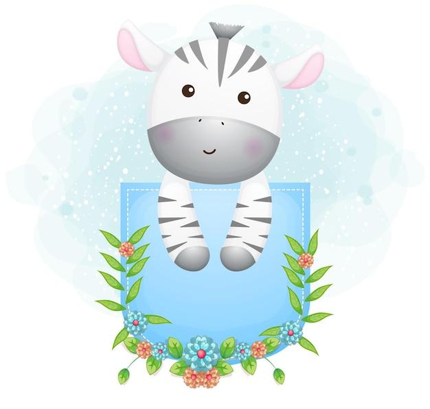 Doodle zebra fofo dentro do bolso com flores