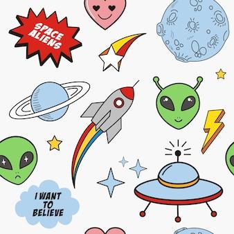 Doodles alienígenas e elementos do espaço