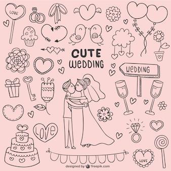 Doodles bonitos do casamento