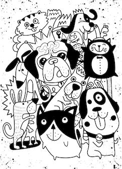 Doodles com cães fofos