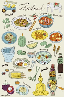 Doodles comida tailandesa e conjunto de ícones, vetor