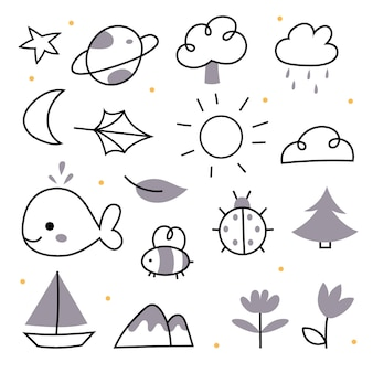 Doodles da natureza em um estilo linear estrela planeta árvore sol lua folha nuvem golfinho peixe abelha
