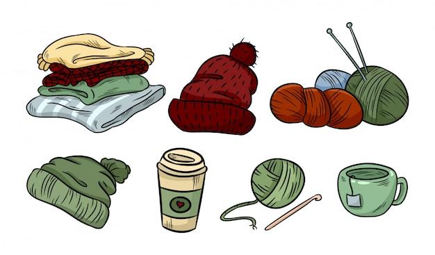 Doodles de etiqueta aconchegante hygge. adesivos bonitos. mantas, fios, café. tricô, boné, chapéu