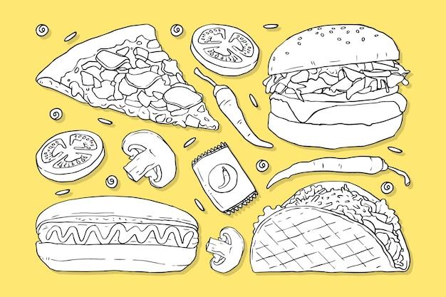 Doodles de fast food