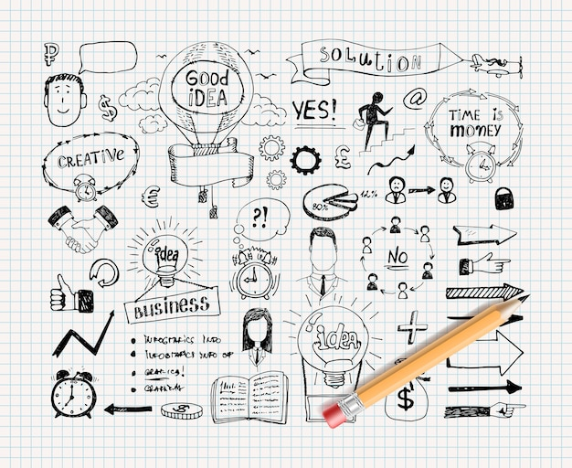 Doodles de ideias de negócios
