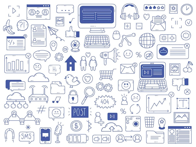 Doodles de mídia social. mão desenhada rede mídia social esboço símbolos isolados conjunto de ilustração vetorial. doodle ícones de mídia social
