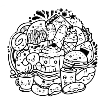 Doodles de monstro bonito de comida