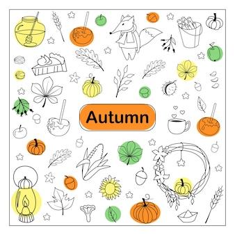 Doodles de outono. conjunto de esboço desenhado de mão. objetos isolados em um fundo branco. ilustração vetorial