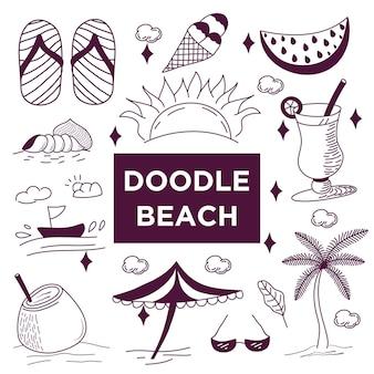 Doodles de verão. conjunto de ícones de verão.