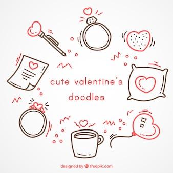Doodles do valentim bonito com detalhes vermelhos