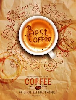 Doodles em um tema de café