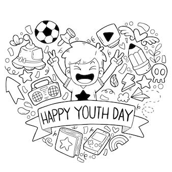 Doodles mão desenhada ornaments feliz dia da juventude