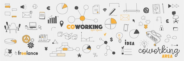 Doodles office cowork concept coworking e espaço de trabalho colaborativo e freelance