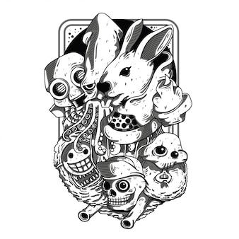 Doodles preto e branco ilustração