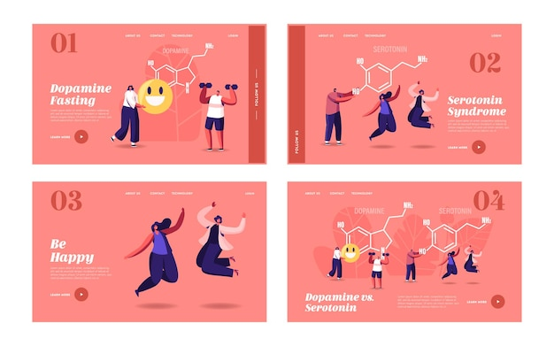 Dopamina, conjunto de modelos de página de destino de serotonina. pessoas curtindo a vida perto da fórmula enorme. produção de hormônios no organismo. personagens salto, exercício, alegria, saúde humana. ilustração em vetor de desenho animado