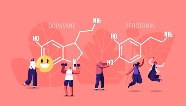 Dopamina, ilustração da serotonina. pessoas curtindo a vida perto da fórmula enorme. produção de hormônios no organismo