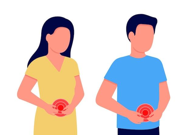 Dor abdominal em homem e mulher. pessoas de mãos dadas na barriga. estômago, dor no intestino. desconforto interno. problemas de estômago, intestinos ou ginecológicos. ilustração vetorial