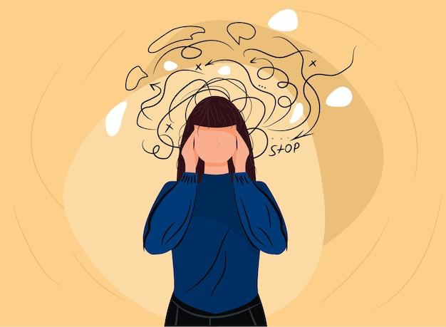 Dor de cabeça da mulher ou crise de ataque de ansiedade.