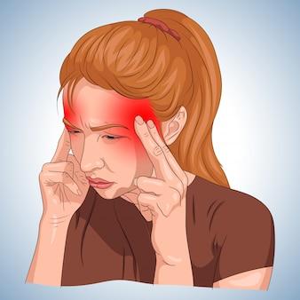 Dor de cabeça ilustrada em um corpo de mulher com designação vermelha