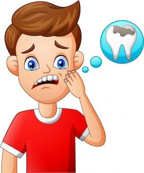 Dor de dente de criança dos desenhos animados