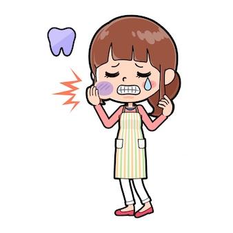 Dor de dente mãe avental