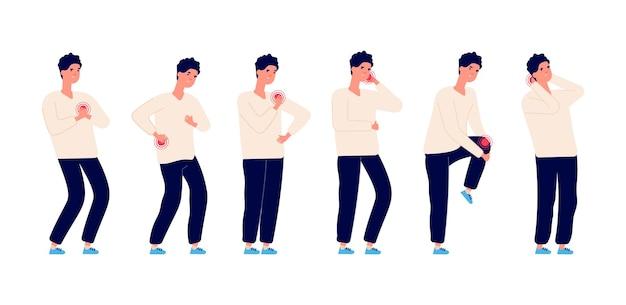 Dor de homem. doença masculina, dor de estômago e dor de cabeça. saúde e remédio, cara tem dor nas costas. pessoa de doença isolada de desenhos animados, gripe doente humana conjunto de problemas corporais. dor de cabeça, ilustração de estômago