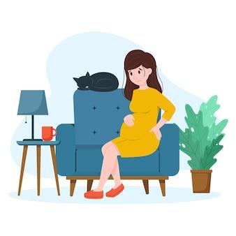 Dor nas costas em mulher grávida mulher grávida em casa na cadeira