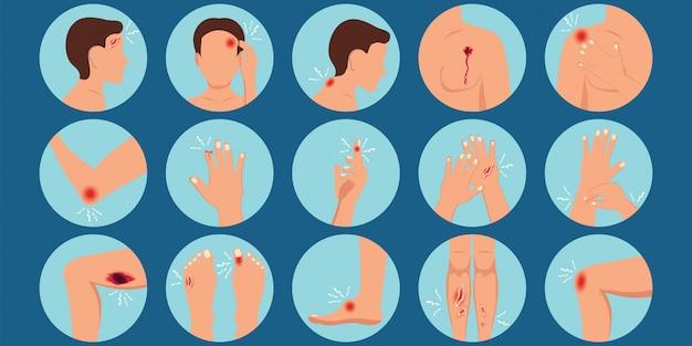 Dor no corpo humano parte lesão física rodada set plana.