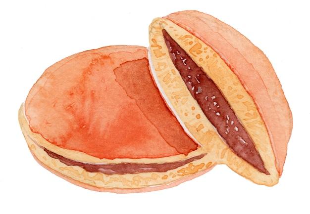 Dorayaki japanese sweets watercolor drawing illustration