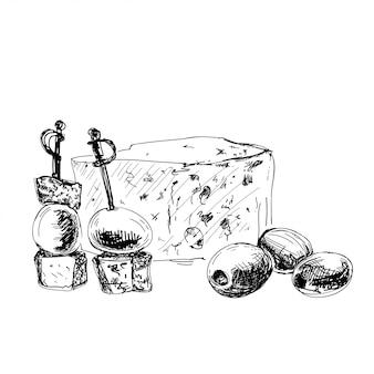 Dorblu, canape e azeitonas